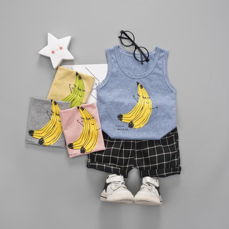 ชุดเซตเสื้อกล้ามสีฟ้าลายกล้วย+กางเกงสีดำลายตาราง แพ็ค 4 ชุด [size 6m-1y-2y-3y]