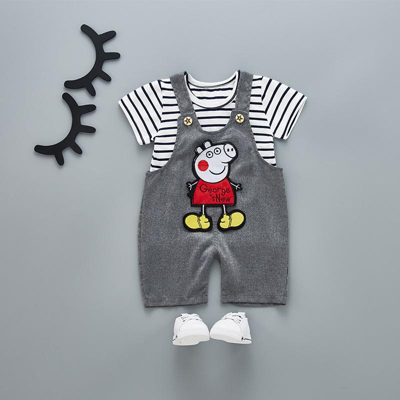 ชุดเซตเสื้อลายขวางสีดำ+เอี๊ยมสีเทาลายหมู แพ็ค 4 ชุด [size 6m-1y-2y-3y]
