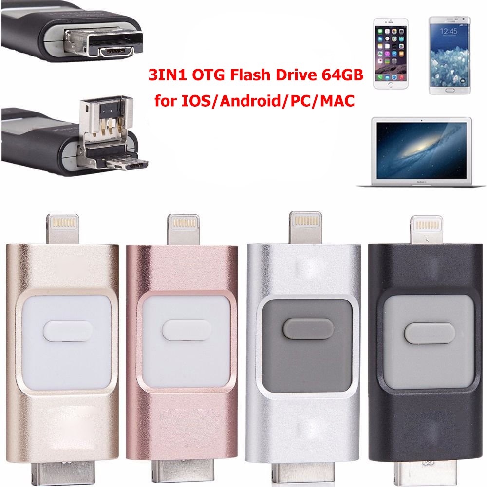 3IN1 OTG Flash Drive 64GB for Iphone/Ipad/Android/PC/MAC