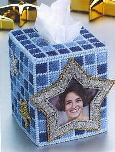 แพทเทิร์นกล่องทิชชูลายดาวใส่รูปได้