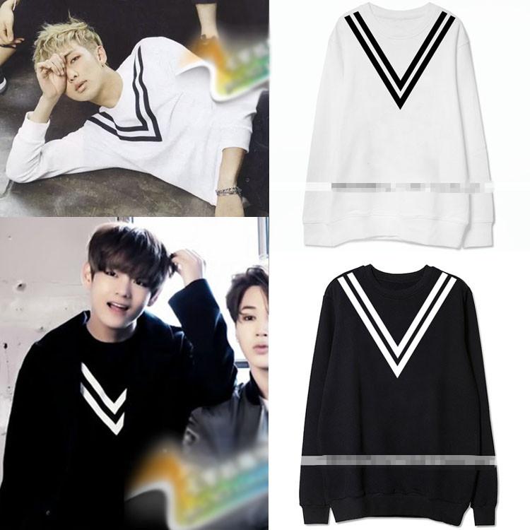 เสื้อแขนยาวกันหนาว (Sweater) สกรีน V แบบ BTS