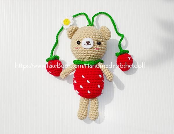 ตุ๊กตาถัก หมี 6 นิ้ว+สายคล้องกระเป๋า