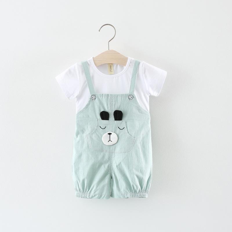 ชุดเซตเสื้อสีขาว+เอี๊ยมน้องหมีสีเขียว แพ็ค 4 ชุด [size 6m-1y-18m-2y]