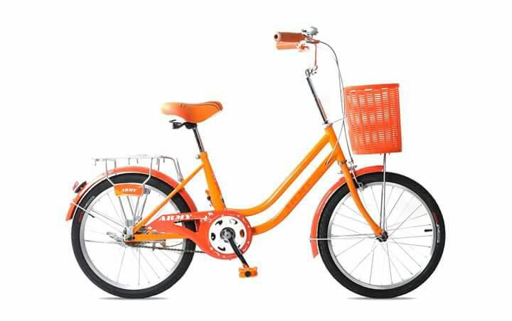 """จักรยานมินิ UMEKO ARMY 20"""" เฟรมเหล็ก ไม่มีเกียร์ (ตะกร้าเหล็กสีเงิน)"""