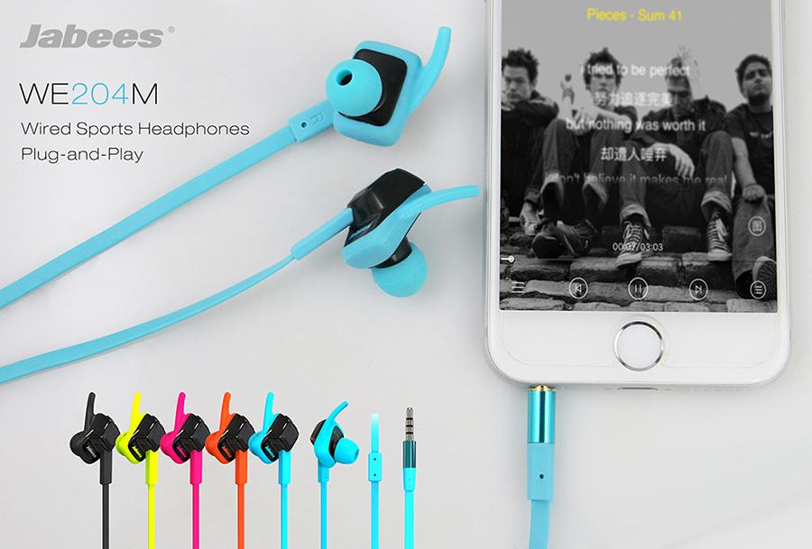 Jabees WE204M หูฟัง Inear แบบ Sports มีไมค์โครโฟนและปุ่มรับสาย กันเหงื่อและละอองน้ำ เหมาะใช้ออกกำลังกาย