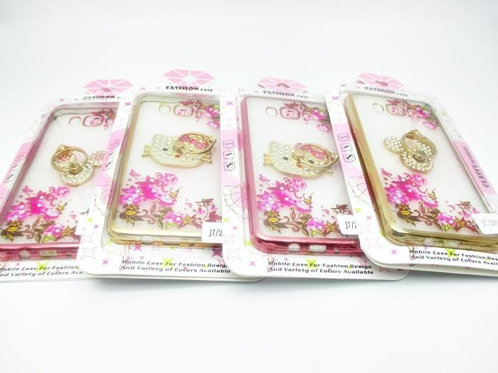 เคสลายดอกไม้ขอบโครเมียมแต่งแหวนเพชร ซัมซุง เจ 7(version 2)