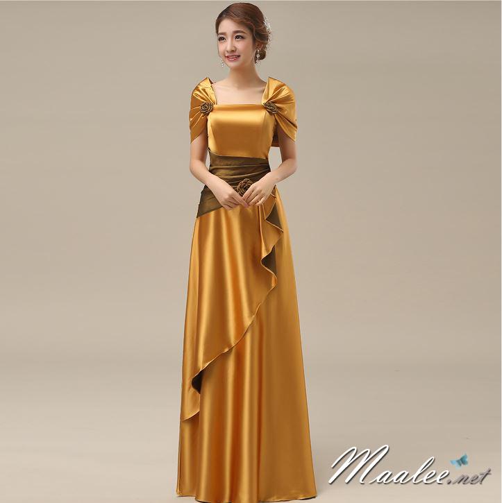 พร้อมส่ง ชุดราตรียาว สีทอง ปิดไหล่ แต่งดอกกุหลาบจับจีบสวย ผ้าซาติน