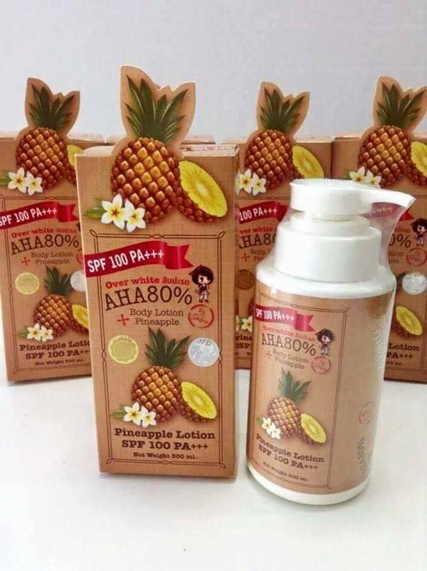 โลชั่นกันแดดสับปะรด Over White Pineapple Body Lotion AHA 80% SPF 100 PA+++