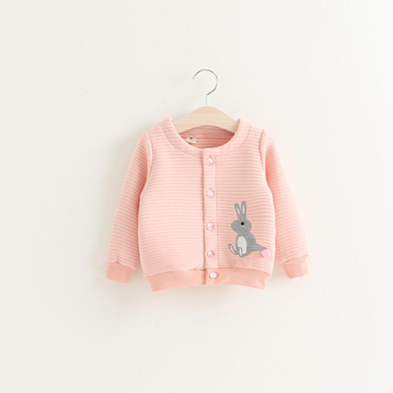 เสื้อคลุมแขนยาวสีชมพูลายกระต่าย [size 3y-4y-5y]