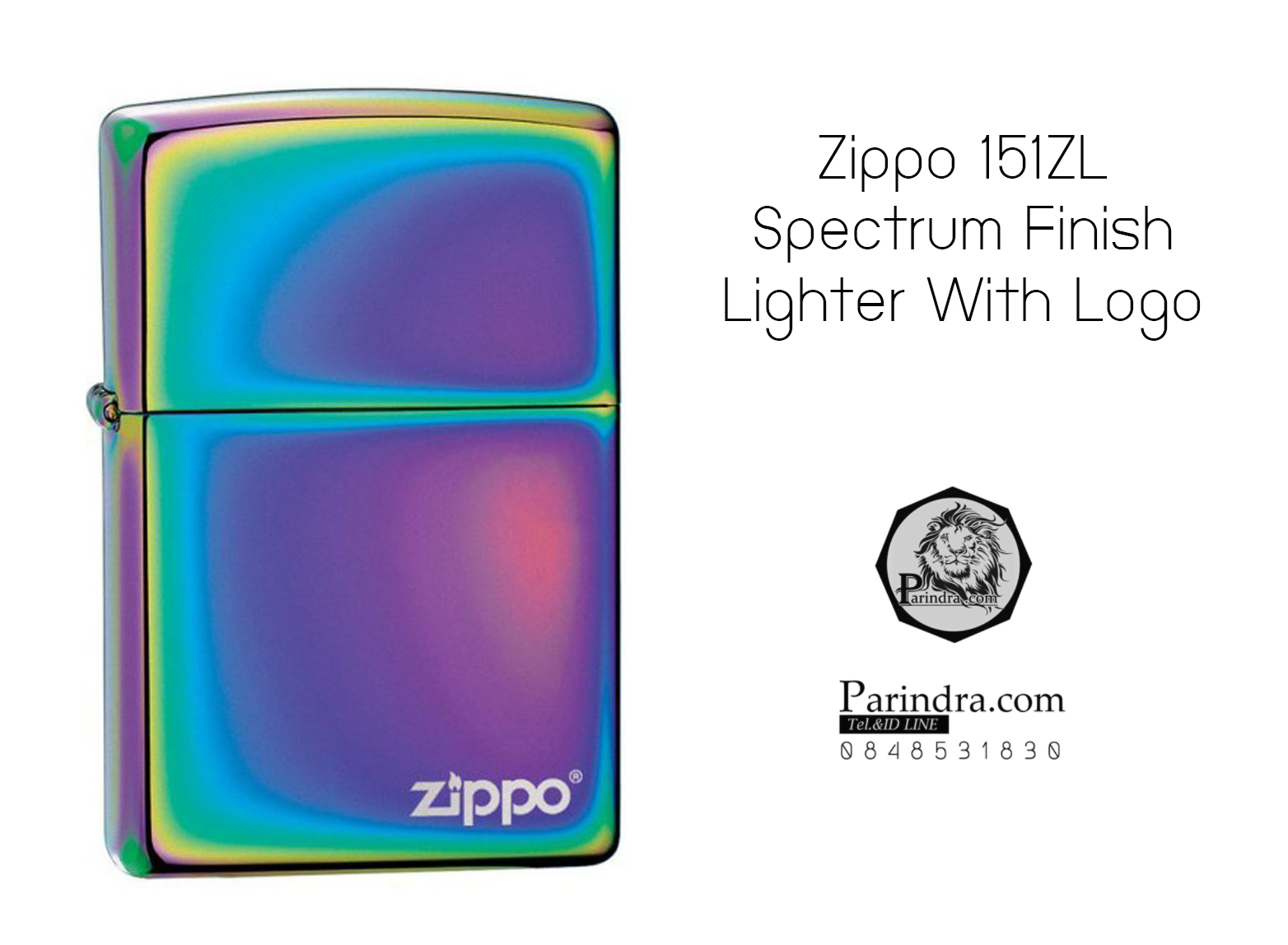 """ไฟแช็ค Zippo แท้ สีเหลือบรุ้งสเปกตรัม """" Zippo 151ZL Spectrum Finish Lighter With Logo """" แท้นำเข้า 100%"""