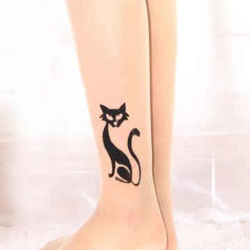 [พร้อมส่ง] T5967 ถุงน่องสีเนื้อ พิมพ์ลายแมวน้อย สุดเซ็กซี่ Sexy Side Cat
