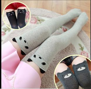 [พร้อมส่ง] S4922 ถุงเท้ายาว ครึ่งขา ลายสัตว์น้อยน่ารัก (หมี, แมว, แพนด้า)