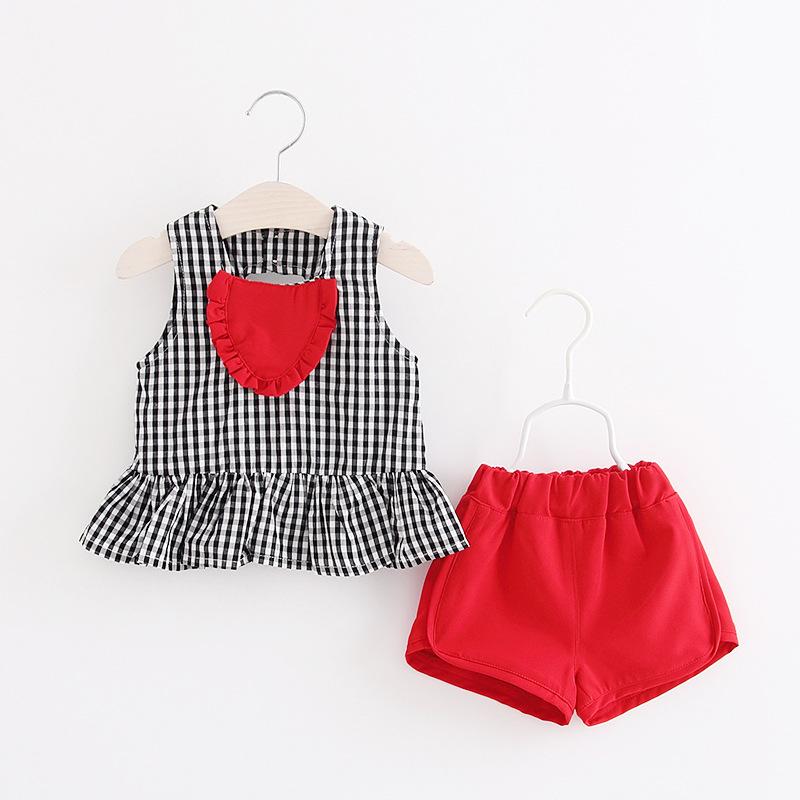 ชุดเซตเสื้อลายสก็อตสีดำ+กางเกงสีแดง แพ็ค 4 ชุด [size 6m-18m-2y-3y]
