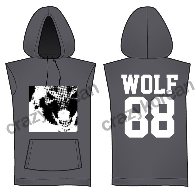 [พร้อมส่ง] เสื้อฮู้ดแขนกุดกว้าง EXO WOLF 88 (สีเทา)