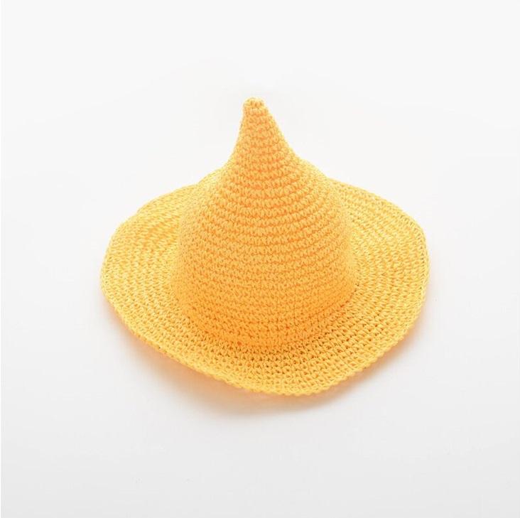 หมวกฟางถักทรงแหลมสีเหลือง แพ็ค 3 ชิ้น