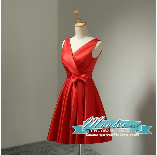 พร้อมส่ง ชุดราตรีสั้น แขนกุด สีแดง ผ้าซาติน คาดเอวสีแดง แต่งโบว์ตรงเอว