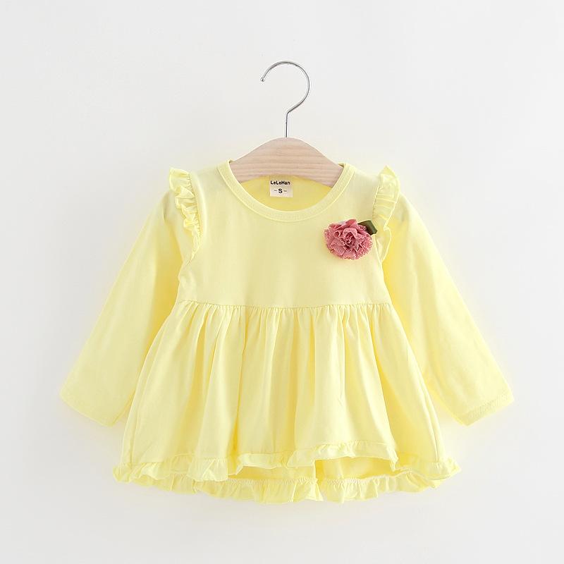 ชุดเดรสแขนยาวสีเหลืองพร้อมเข็มกลัดดอกไม้ [size 6m-1y-2y]