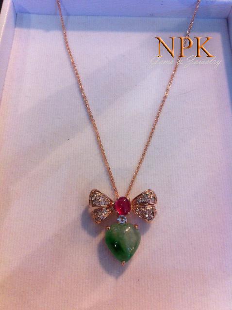 สร้อยคอหยกพม่ารูปหัวใจ(Necklace Burma jade with ruby)