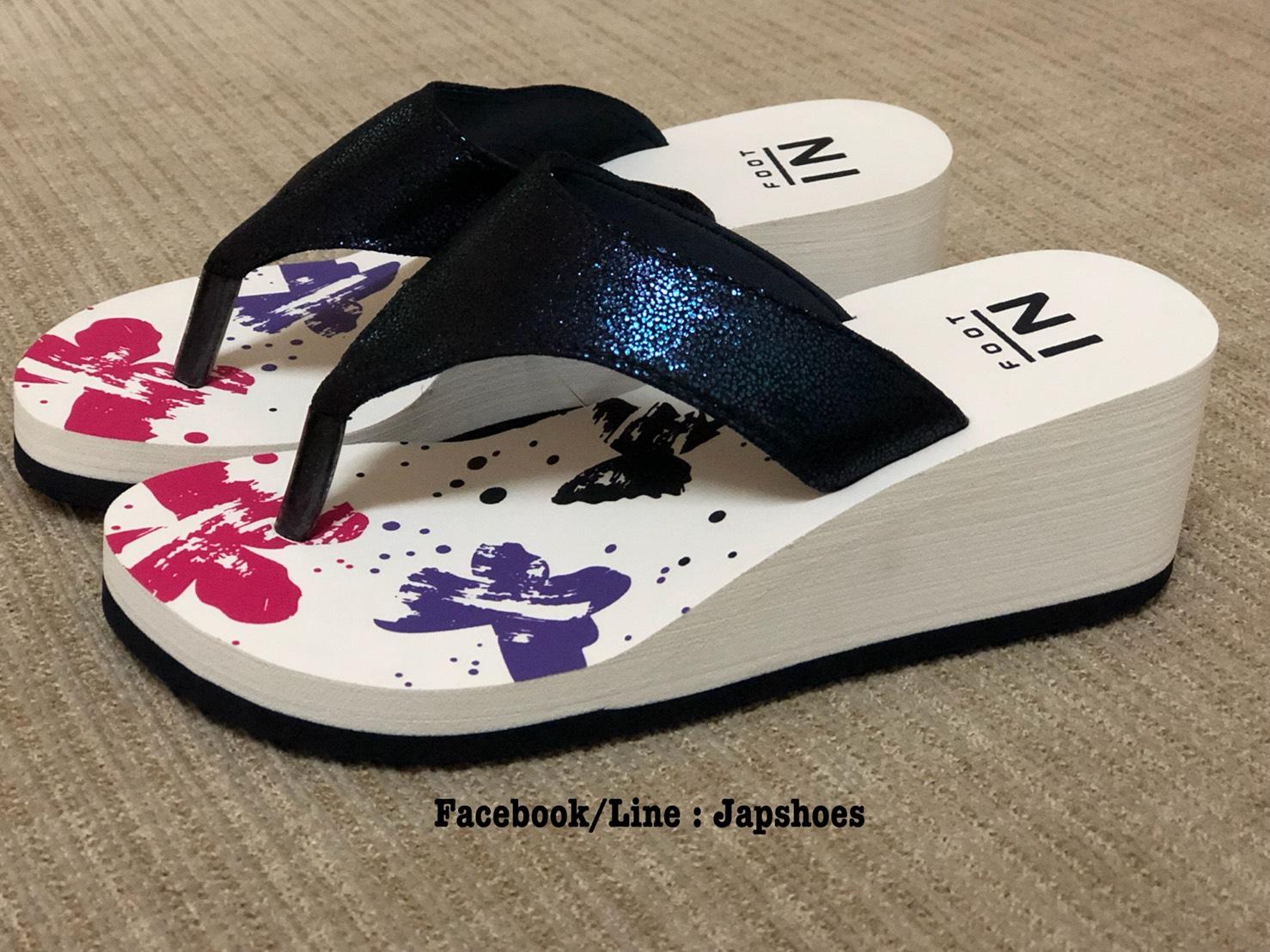 รองเท้าบาจา ฟุตอิน หนีบสีน้ำเงินส้นเตารีด