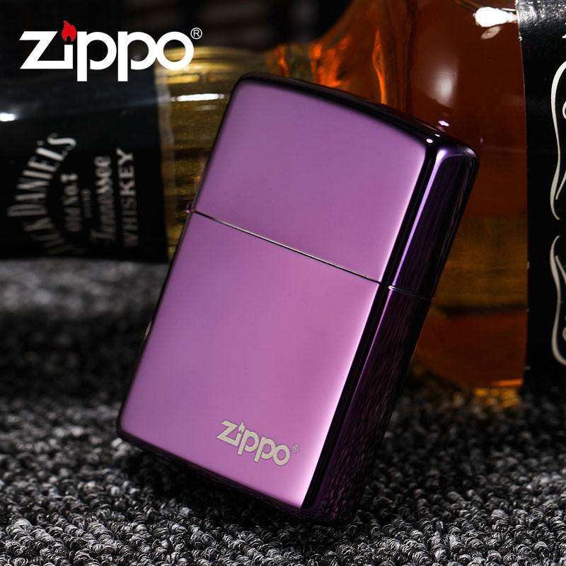 """ไฟแช็ค Zippo 24747ZL แท้ สีม่วงเข้มผิวมัน """" Zippo Logo Purple Abyss """" แท้นำเข้า 100%"""