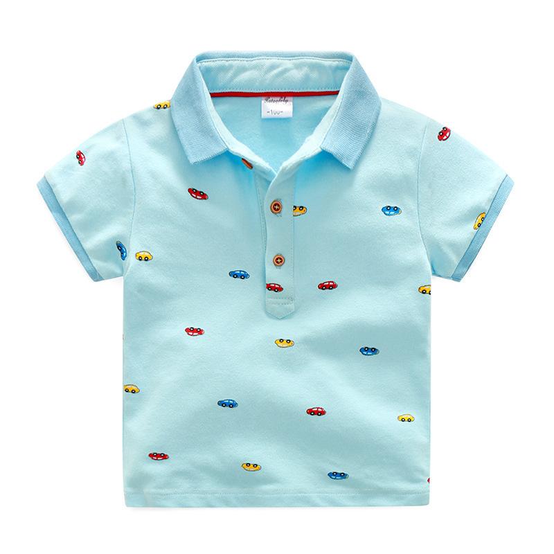 เสื้อยืดคอปกสีฟ้าลายรถ แพ็ค 5 ชิ้น [size 2y-3y-4y-5y-6y]