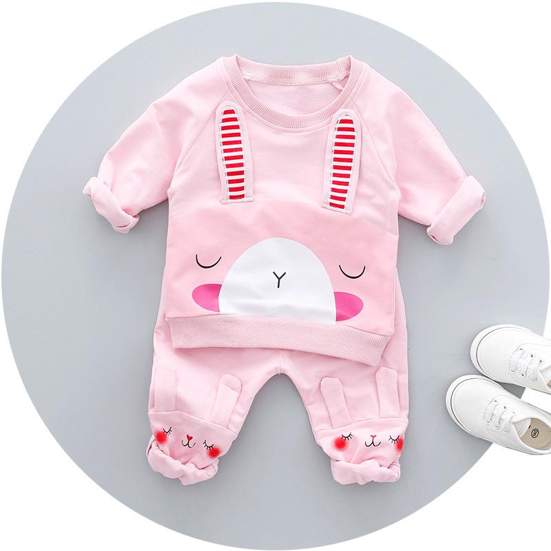 ชุดเซตเสื้อแขนยาวสีชมพูลายกระต่าย+กางเกงขายาวสีชมพู แพ็ค 4 ชุด [size 6m-1y-2y-3y]
