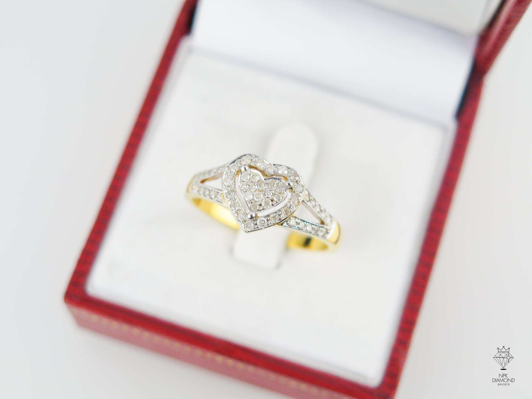 แหวน 9K เพชรรูปหัวใจ