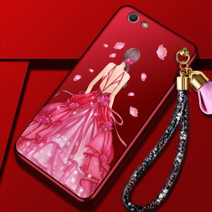 เคส ไอโฟน 6 Plus/6s plus 5.5 นิ้ว แดงกำมะหยี่พิมพ์ลายมีสายห้อยดอกไม้