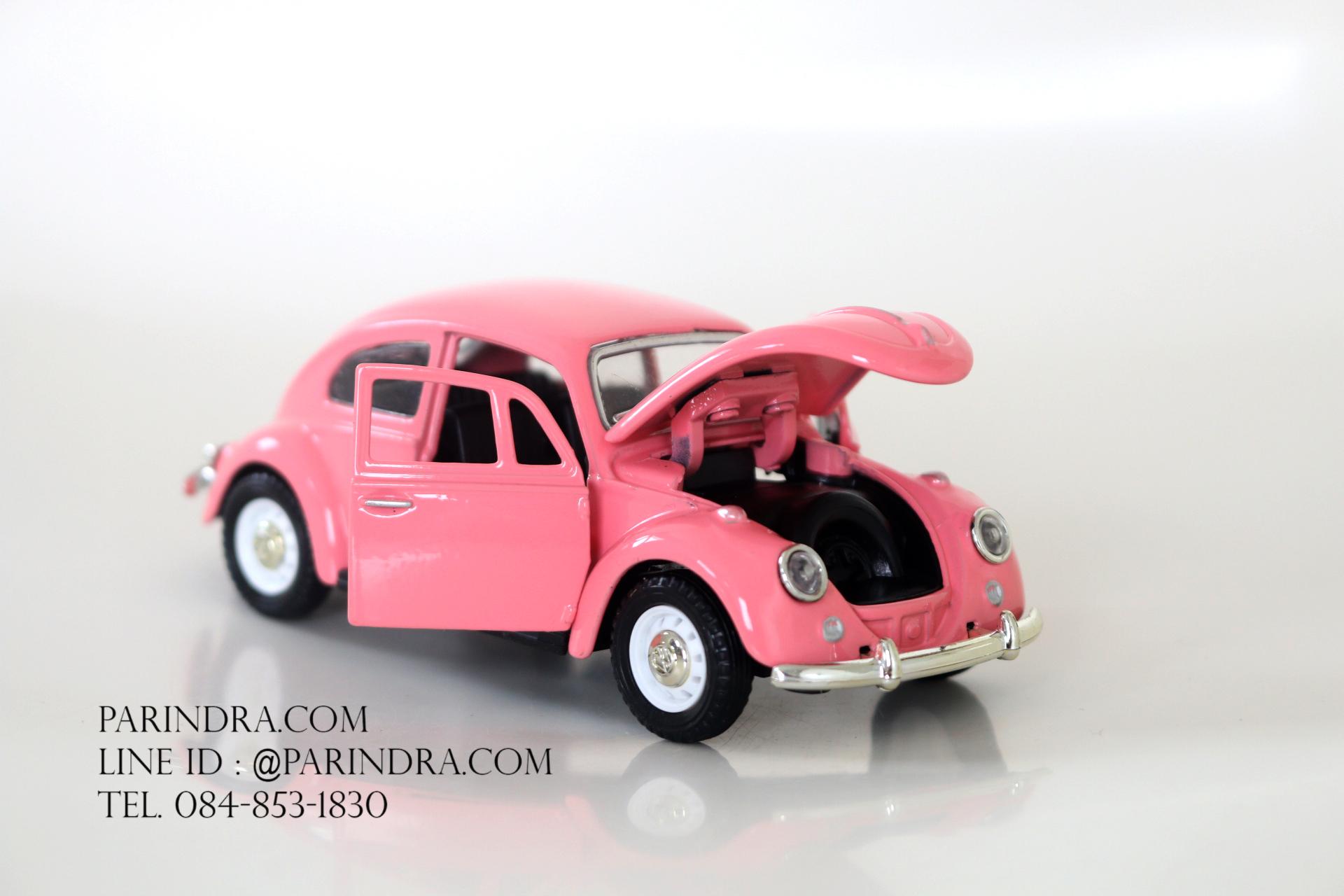 โมเดลรถเหล็กรถเต่า Volkswagen 1967 อัตราส่วน 1:32 สีชมพู
