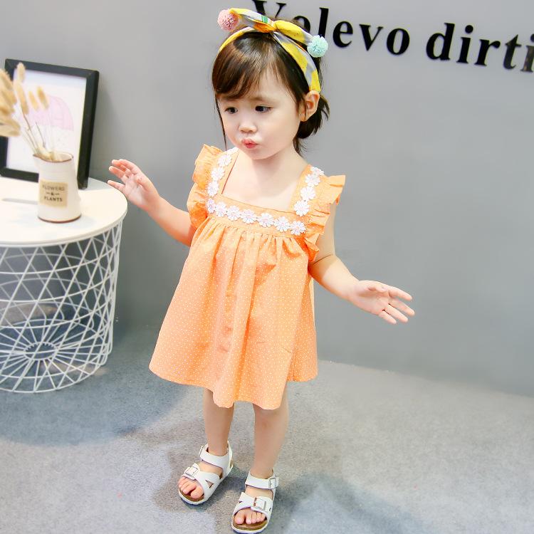 ชุดเดรสลายจุดสีส้มแต่งดอกไม้ที่คอ [size 6m-1y-18m-2y]