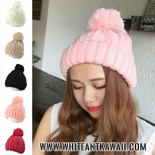[พร้อมส่ง] H6509 หมวกไหมพรมกันหนาว สไตล์เกาหลี มีปอมๆ เป็นจุกหมวกสุดน่ารัก Solid Color Wool Hat