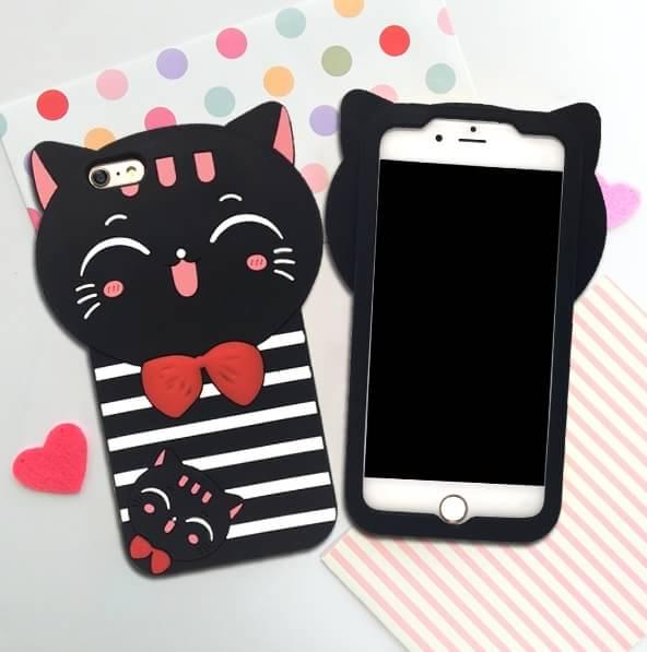 เคสซิลิโคน 3Dแมวดำใส่เสื้อขวาง ไอโฟน 6plus/6splus 5.5 นิ้ว
