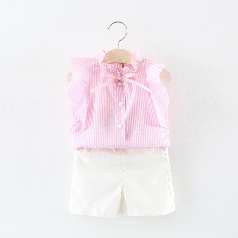 ชุดเซตเสื้อลายทางสีชมพู+กางเกงขาสั้นสีขาว แพ็ค 4 ชุด [size 6m-1y-18m-2y]