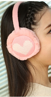 [พร้อมส่ง] HE8172 ที่ปิดหูกันหนาวทอลายรูปหัวใจ ต่อเป็นหูฟังได้
