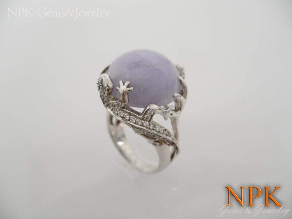 แหวนเงินหยกม่วงพม่า(Silver ring lavender jade)