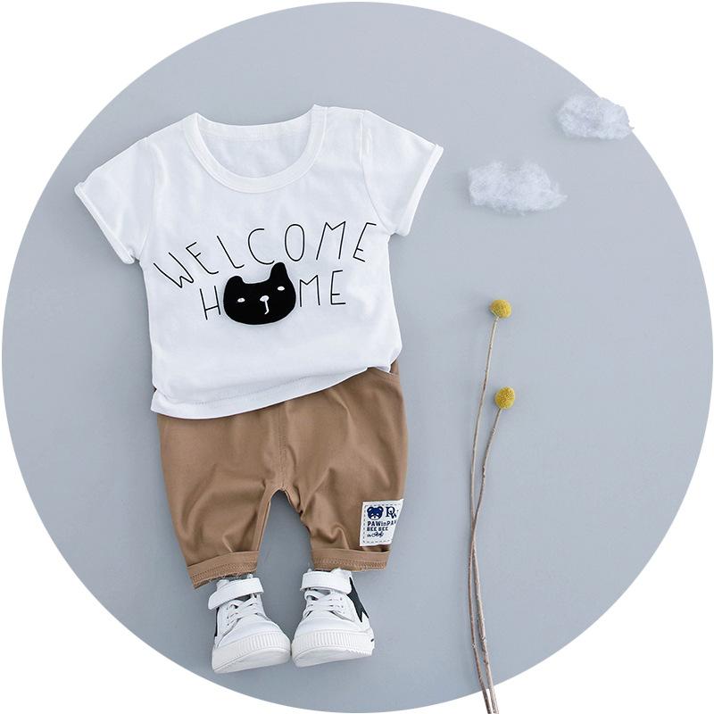 ชุดเซตเสื้อสีขาวลายน้องแมว+กางเกงสีน้ำตาล แพ็ค 3 ชุด [size 1y-18m-2y]