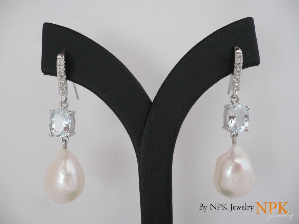 ต่างหูเงินมุขและบลูสไก(Earrings pearl&blue sky)