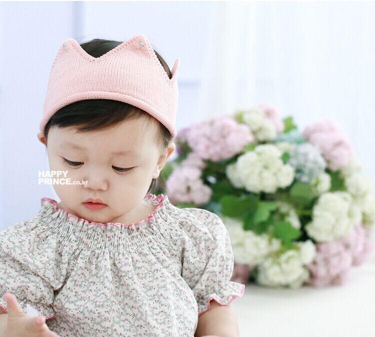 หมวกมงกุฏไหมพรมสีชมพู แพ็ค 5 ชิ้น