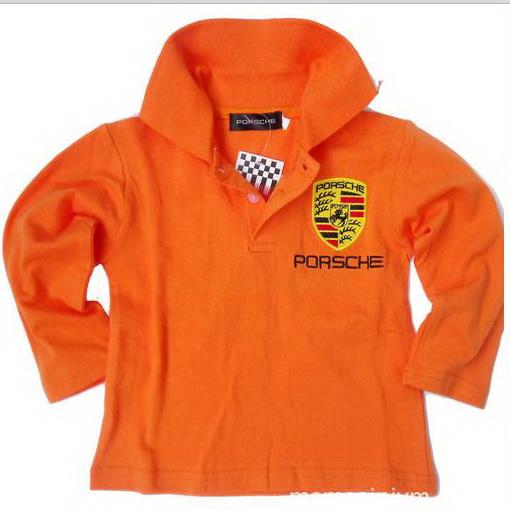 TX008 เสื้อโปโลเด็ก แขนยาว สีส้ม เนื้อนิ่ม ใส่สบาย ปักตราสัญลักษณ์ PORSCHE ตรงอกและด้านหลัง Size 5/7/9/11/13