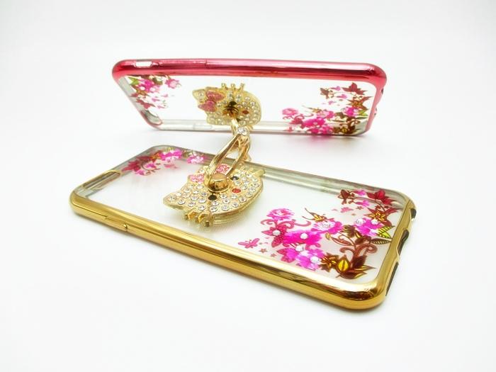 เคสลายดอกไม้ขอบโครเมียมแต่งแหวนเพชร ไอโฟน 6/6s 4.7 นิ้ว