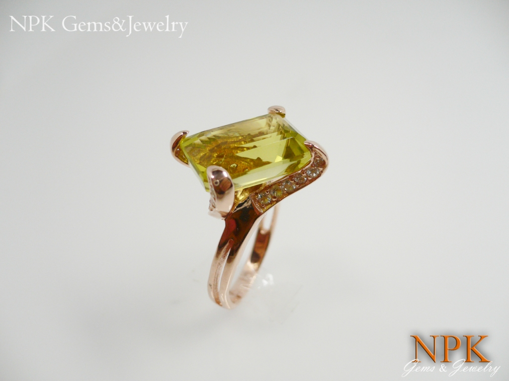 แหวนเงินกรีนเลม่อน(Silver ring green lemon)
