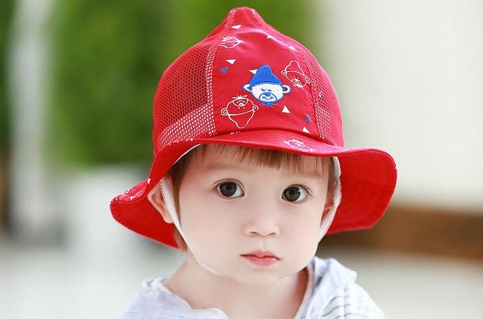 หมวกลายน้องหมีสีแดง แพ็ค 3 ชิ้น