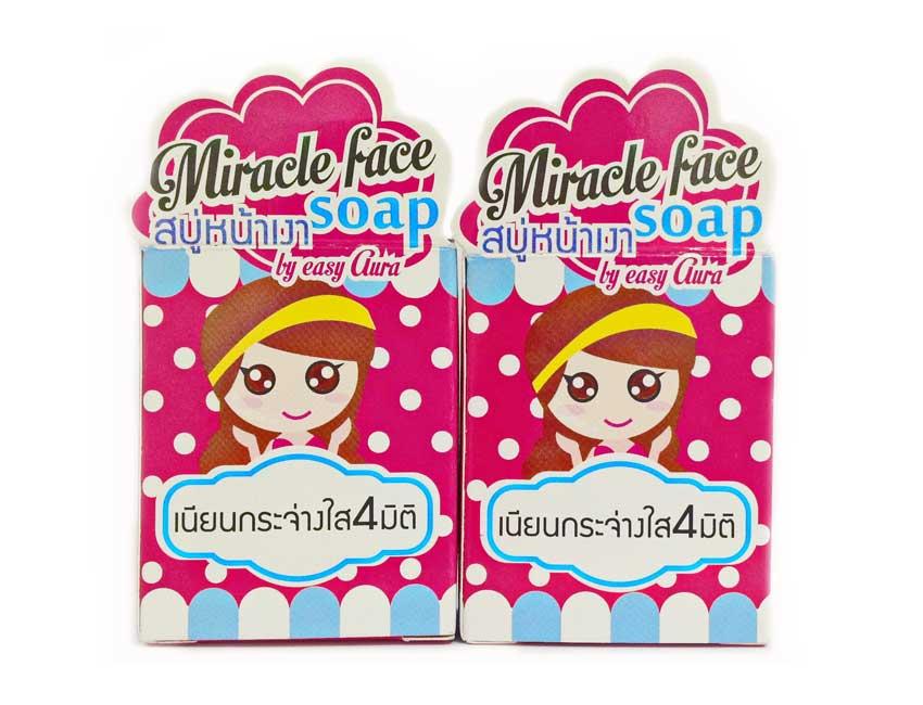 สบู่หน้าเงา Miracle face soap by easy aura