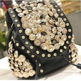 กระเป๋าหนังติดกระดุมแฟชั่น(สีดำ)