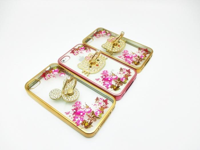 เคสลายดอกไม้ขอบโครเมียมแต่งแหวนเพชร ไอโฟน 4/4s