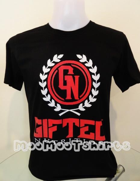 เสื้อยืดสีดำสกรีนลายสีแดงสีสันสดใส ด้วยระบบ DTG