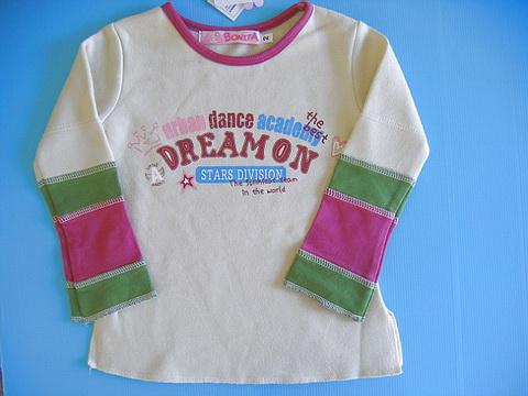 BON096 Bonita ชุดเด็กหญิง เสื้อผ้าเด็กผู้หญิง เสื้อกันหนาวแบบสเวตเตอร์ผ้าสำลี สีครีม DREAM ON Size 2Y