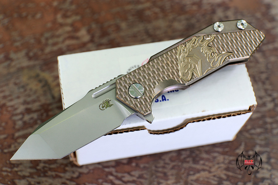 RHK Half Track Tanto Stonewash Blade Horse Engraved Bronze Titanium Textured Handle
