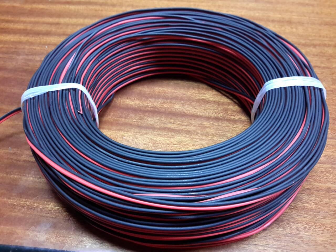 สายไฟลำโพงดำแดงอย่างดี ทองแดงแท้ 100% สุดยอดสำหรับการต่อสายลำโพง ความยาวขด 30 เมตร