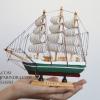 โมเดลเรือสำเภาไม้ขนาด 8 นิ้ว แต่งโต๊ะทำงาน สำหรับการตกแต่งบ้านและร้านค้าทั่วไป No.2